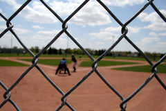Baseball Action through the Links Stock Image