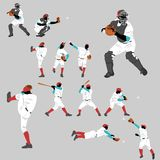 Baseball action Silhouette Collection Royalty Free Stock Image