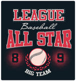 Baseball All-Star Logo Tee Graphic Design Royalty Free Stock Images