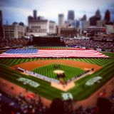 Baseball in America. Huge flag flies in Comerica Park before the Tigers vs the Orioles game 3 of the playoffs stock image