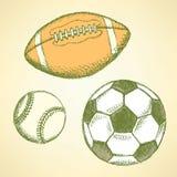 Baseball, american football and soccer balls. Sketch baseball, american football and soccer balls stock illustration