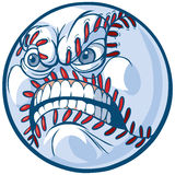 Baseball with Angry Face Vector Cartoon Illustration. Vector Cartoon Clip Art Illustration of a baseball or softball with an angry face vector illustration