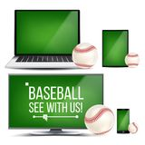 Baseball Application Vector. Field, Baseball Ball. Online Stream, Bookmaker Sport Game App. Banner Design Element. Live. Match. Monitor, Laptop, Touch Tablet Royalty Free Stock Images