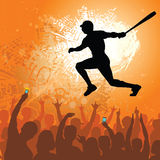Baseball athlete with cheering fans Stock Images
