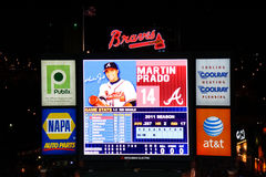 Baseball Atlanta Braves Turner Field Scoreboard Royalty Free Stock Images