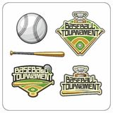 Baseball attributes and emblems Royalty Free Stock Photos