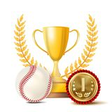 Baseball Achievement Award Vector. Sport Banner Background. White Ball, Red Stitches, Winner Cup, Golden 1st Place Medal. Baseball Award Vector. Sport Banner Stock Illustration