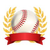 Baseball Award Vector. Sport Banner Background. White Ball, Red Stitches, Red Ribbon, Laurel Wreath. 3D Realistic. Isolated Stock Photo