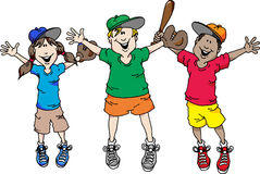 Baseball is Back. Illustration of a group of kids happy that baseball is back Stock Images