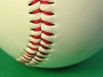 Baseball background. Extreme close-up of a baseball,selective focus on the lace.Useful image as background for a baseball competition   add Stock Images
