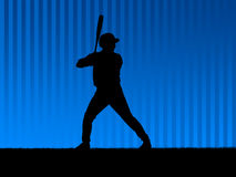 Baseball background blue. Illustration. Baseball player in action Royalty Free Stock Images