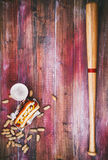 Baseball Background With Hot Dog, Beer And Baseball Bat Stock Photo