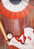 Baseball Background With Team Jersey, Ball And Bat Royalty Free Stock Photography
