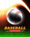 Baseball in the backlight on a black background with a flight path in the form of a light beam. Vector illustration Stock Image