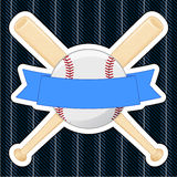 Baseball Badge. An illustration of a pair of crossed baseball bats and ball sewn onto a pinstripe background. Banner left blank for custom use and background stock illustration