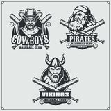 Baseball badges, labels and design elements. Sport club emblems with viking, pirate, and cowboy. Vector Stock Images