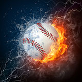 Baseball Ball. On Fire and Water. 2D Graphics. Computer Design Royalty Free Stock Photos