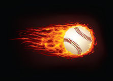 Baseball Ball. In Fire isolated on Black Background. Vector Royalty Free Stock Images
