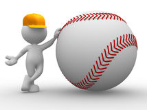 Baseball ball. 3d people - man, person with a baseball ball Stock Image