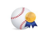 Baseball ball with award. Illustration design over white Royalty Free Stock Photos