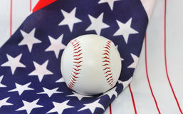 Baseball ball on  background of the American flag. Stock Photo