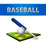 Baseball Ball Bat and Green Field Emblem Royalty Free Stock Image