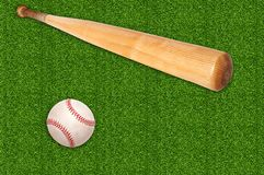 Baseball ball and bat on green grass Stock Photos