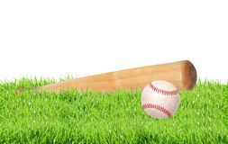 Baseball ball and bat on green grass isolated on white Stock Photos