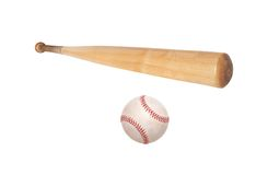 Baseball ball and bat isolated on white Royalty Free Stock Photos