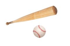 Baseball ball and bat isolated on white Royalty Free Stock Photo