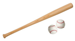 Baseball ball and bats