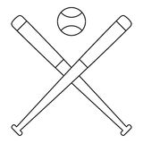Baseball ball with bats icon, outline style Royalty Free Stock Photos