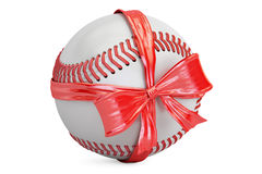 Baseball ball with bow and ribbon, gift concept. 3D rendering. On white background Stock Images