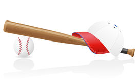 Baseball ball cap and bit vector illustration Royalty Free Stock Photography