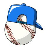 Baseball ball cap character mascot cartoon vector isolated. On white royalty free illustration