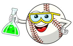 Baseball ball cartoon funny character chemist cruet isolated. On white stock illustration
