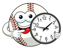 Baseball ball character mascot cartoon clock time vector isolated. On white stock illustration