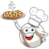 Baseball ball character mascot cartoon cook pizza vector isolated. On white stock illustration