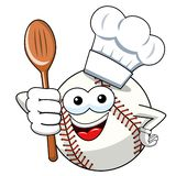 Baseball ball character mascot cartoon cook wooden spoon vector isolated. On white vector illustration