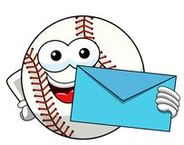 Baseball ball character mascot cartoon envelope vector isolated. On white royalty free illustration