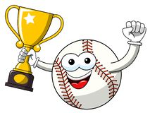 Baseball ball character mascot cartoon exulting winner cup vector isolated. On white stock illustration