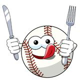 Baseball ball character mascot cartoon fork knife hungry vector isolated. On white royalty free illustration