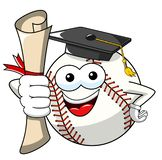 Baseball ball character mascot cartoon gets degree vector isolated. On white royalty free illustration