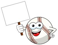 Baseball ball character mascot cartoon holding blank banner vector isolated. On white vector illustration