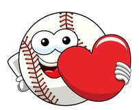 Baseball ball character mascot cartoon love heart vector isolated. On white vector illustration