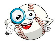 Baseball ball character mascot cartoon magnifying glass vector isolated. On white vector illustration