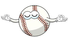 Baseball ball character mascot cartoon meditation concentration vector isolated. On white royalty free illustration