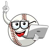 Baseball ball character mascot cartoon nerd, laptop vector isolated. On white royalty free illustration