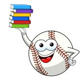 Baseball ball character mascot cartoon pile books vector isolated