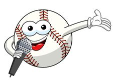 Baseball ball character mascot cartoon presenter microphone vector isolated. On white vector illustration